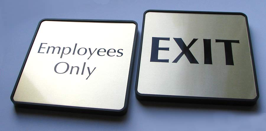 Exit Signs & Employee Only Signs & Custom Nameplates