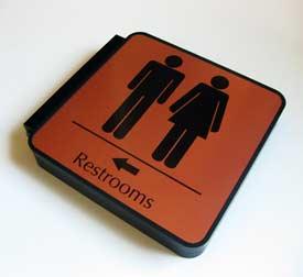 2-Sided Corridor & Hallway Bathroom Directional Signage